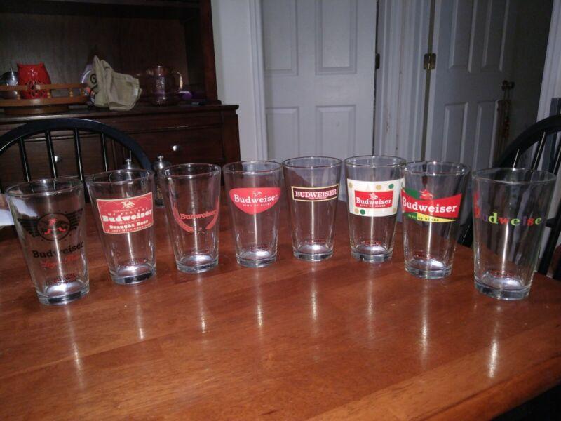 8 Budweiser King Of Beers Vintage Collectors Series Retro Pint Glasses