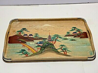 Vtg 1950s Wood Tray Artwork Hand Painted Handles Metal Corners JAPAN DECOR INLAY
