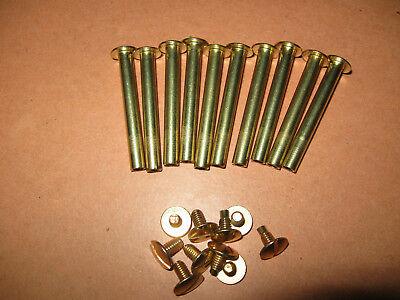 10 Stück Buchschrauben messingfarbig vermessingt Schaft 5 mm Füllhöhe 40 mm
