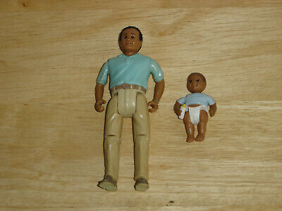 Vintage Fisher Price Loving Family Dollhouse African American Father & Baby Doll