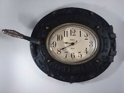 Vtg FIREBALL STOVEWORKS 78 Cast Iron Wood Stove Door Kitchen Wall Clock Rustic