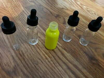Set Of 5 Small Glass Vials With Glass Dropper