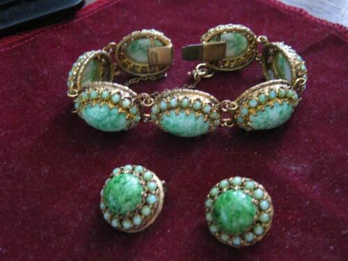 Signed CZECHO Gold Filigree PEKING GLASS Cabochons BRACELET & EARRINGS 1918-1939