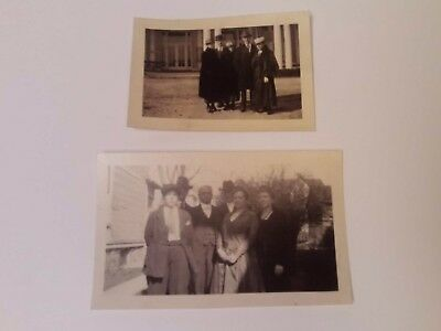Lot Of 2 Vintage 1920s Black And White Group Family Dress Up Fashion Photographs