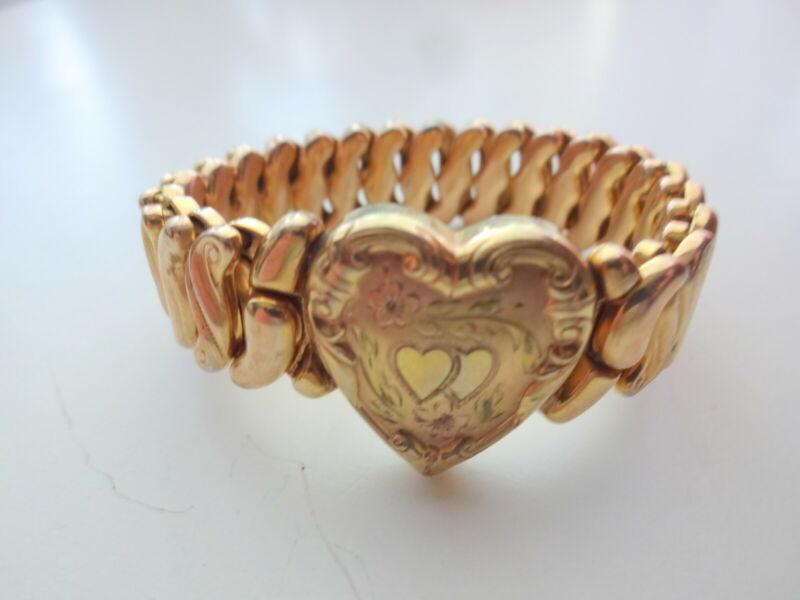 Antique Victorian Edwardian Filled 12k GF Sweet Heart Expansion Floral Bracelet