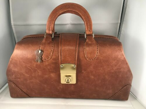 New Grafco Medical Doctors Physicians Nurse Bag Satchel Leather Brown 1539-1