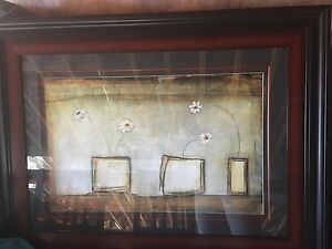 Large framed art with glass