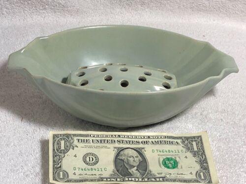 Frankoma #201 Flower Bowl & Flower Frog Dove Gray Ada Clay Pot/Puma Mark 1935-38