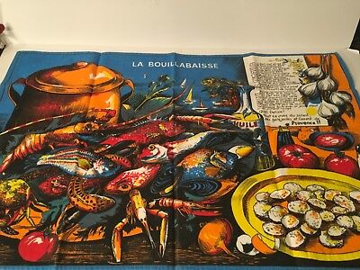 La Bouillabaisse J Franco Creation Recipe French Tea Towel Vtg