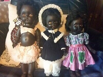 3 Lovely Vintage Black Vinyl Dolls