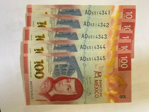 Mexico NEW 2020 five ps.100 pesos Sor Juana Butterfly Banknote Crisp uncirc