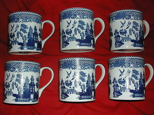 SET OF SIX BRAND NEW FINE BONE CHINA MUGS  WILLOW PATTERN