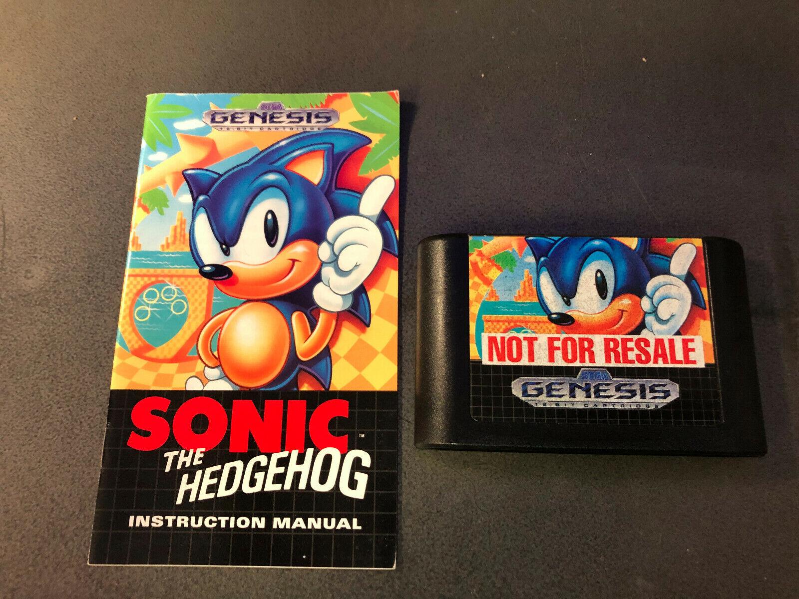 Sonic The Hedgehog Sega Genesis, 1991 W/ Manual Not For Resale Authentic RARE - $7.50