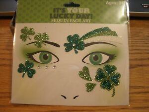 St. Patricks Day Sequin Face Art Temporary Tattoos