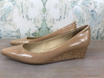 Stuart Weitzman Nude Beige Patent Leather Cork Low Wedge Pointed Pumps Heels 6 M