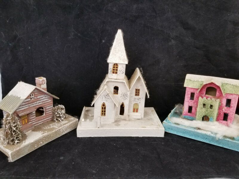 3 Large ANTIQUE VINTAGE 1930s CHRISTMAS JAPAN CARDBOARD PUTZ HOUSES & CHURCH
