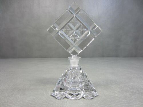 "Vintage Bohemia Czechoslovakian Cut Crystal Glass Perfume Bottle 6 1/2"""