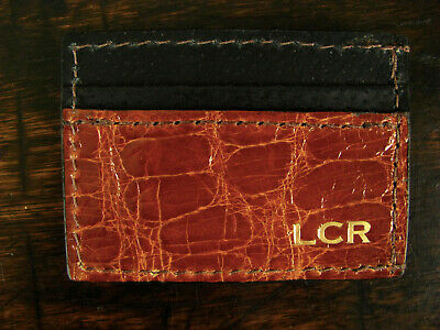 Glossy Cognac Genuine American Alligator Money Clip Wallet Made in USA