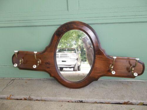 Vintage Ethan Allen Tavern Style Mirror w/ Coat Hat Rack Porcelain & Brass Hooks
