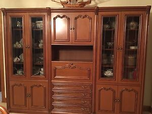 Antique sold wood display cabinet with glass Bringelly Camden Area Preview