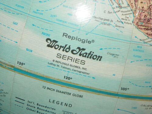 Nice!!  REPLOGLE World Nation Series RAISED TOPOGRAPHY Globe /360 Degree Spin