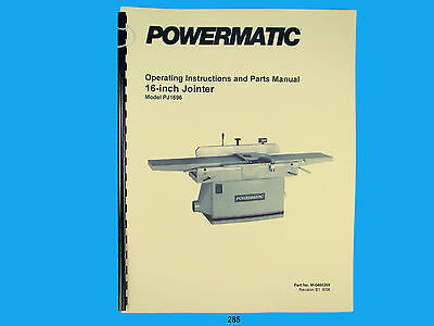 Powermatic Model Pj-1696 16 Jointer Operating Instruction Parts Manual 285