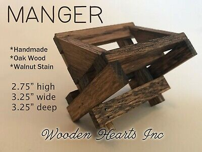 BABY MANGER WOOD -Compatible with Willow Tree Angel Nativity (not included)