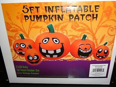 5 Ft Pumpkin Patch Inflatable Halloween Yard Haunted House Light Up LED, NEW