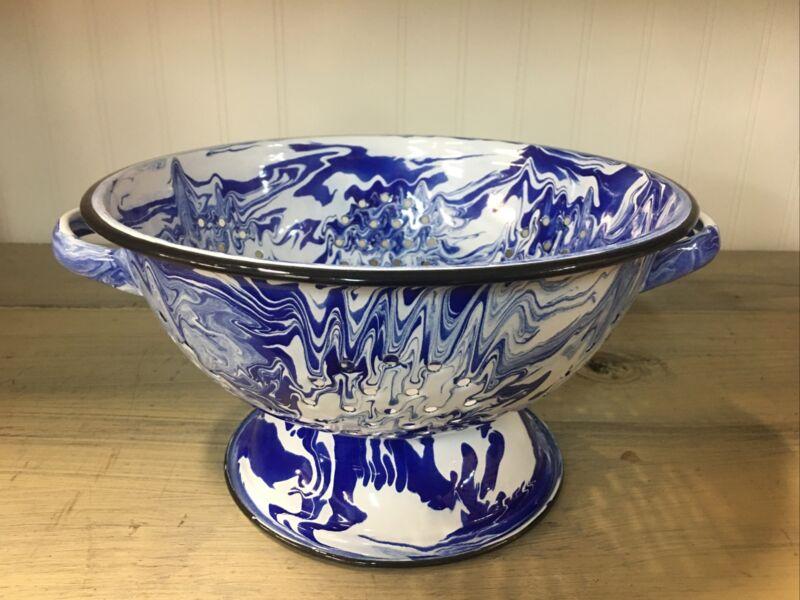 VTG STYLE Blue & White Porcelain ENAMEL COLANDER STRAINER Splatter ware