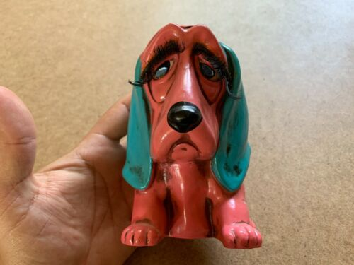 "VINTAGE PINK BASSET HOUND DOG CERAMIC BANK 6"" FIGURINE"
