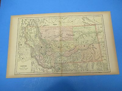 "1893 Popular Atlas Map 2 Page,Montana, Nice Color,Suitable Frame 13 1/2"" X 22"""