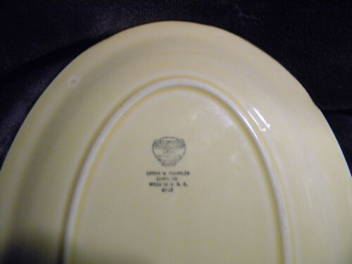VINTAGE Semi Vitreous Yellow Floral Platter Edwin M. Knowles China Co. USA