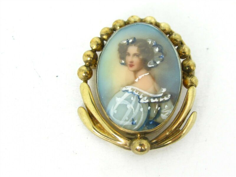 Antique Gold Filled Painted Portrait Ladies Pin Brooch 5.4g B43
