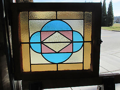 ANTIQUE AMERICAN STAINED GLASS WINDOW 24 x 21 6 OF 8  ~ ARCHITECTURAL SALVAGE ~
