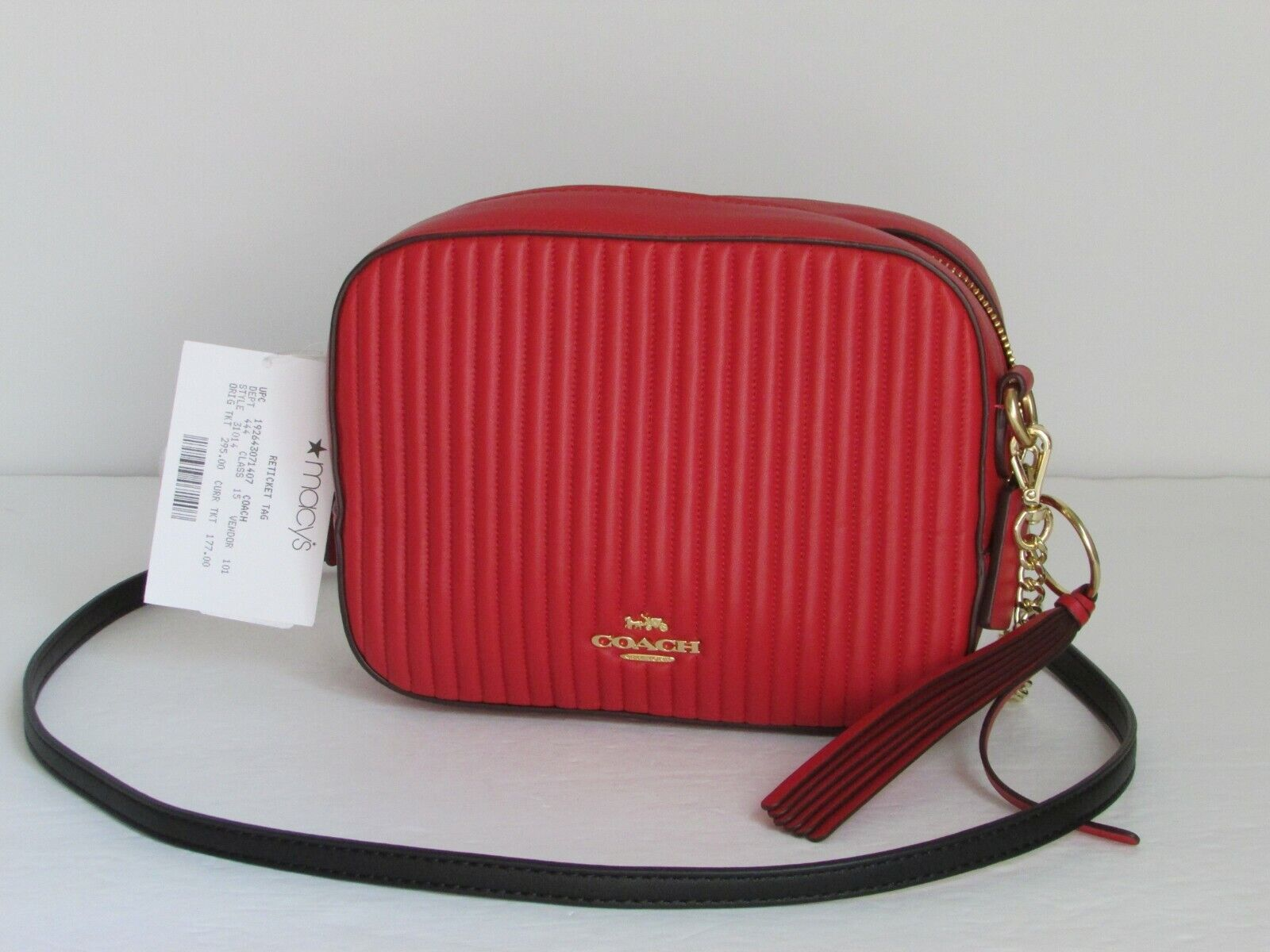 NEW Coach Camera Quilted Red Leather Crossbody Shoulder Hand