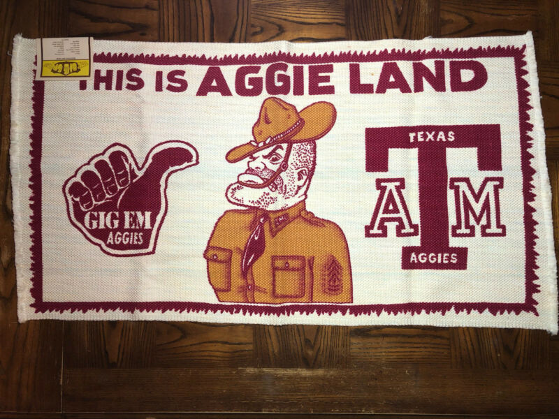 This is Aggie Land Area RUG Floor Mat Vintage w/Tag Texas A&M Never Used 24 x 45