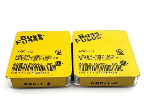 """Lot of 10 Bussmann AGC1/2 250V 1/2 Amp 1/4"""" x 1-1/4"""" Fast Acting Glass Fuses"""