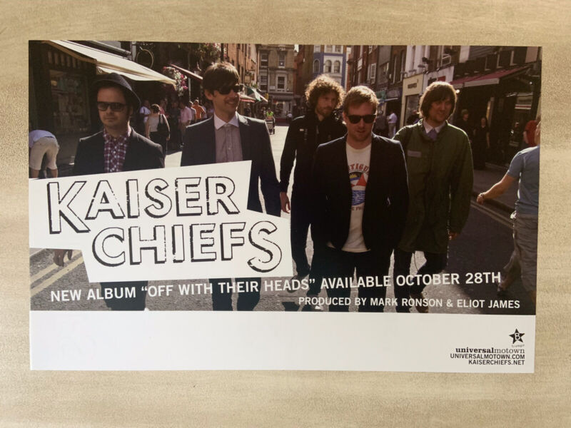"""Kaiser Chiefs, """"Off With Their Heads"""", Promo Poster, Double Sided"""