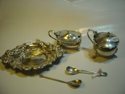 STUNNING SOLID SILVER ANTIQUE-2 X MUSTARD POTS & SPOONS & ORNATE SWEETY BOWL