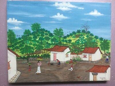 El Salvador 1986 Primitive  - Folk painting by Mario.
