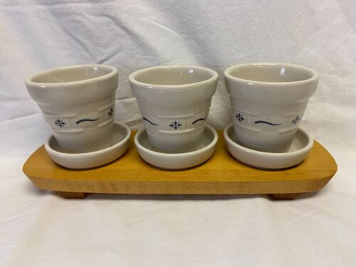 """LONGABERGER POTTERY - SET OF THREE FLOWER POTS - 3.5"""" - WITH WOODEN HOLDER"""