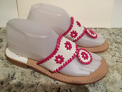 Jack Rogers Navajo Sandals Flat Leather Thong Flip Flop White Hot Pink 7-7.5 M