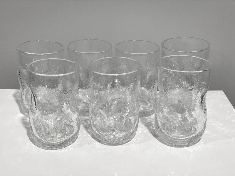 7 Blenko Glass #418S Tumblers Glasses in Crystal Crackle