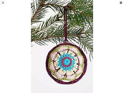NEW Urban Outfitters Crochet Covered Christmas Xmas Holiday Hanging Ornament LG