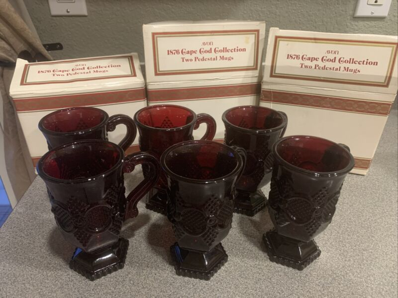 3 sets AVON 1876 CAPE COD COLLECTION RUBY RED PEDESTAL MUGS SET OF 2 WITH BOX