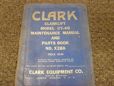 Clark Cy40 Clarklift Forklift Parts Catalog Service Repair Maintenance Manual