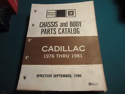 1976 to 1981 Cadillac Chassis and Body parts catalog NOS