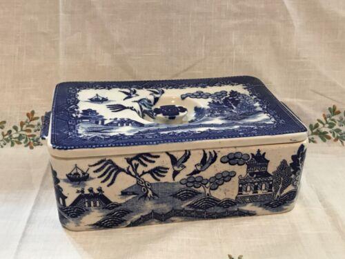 VINTAGE VERY LARGE MORIYAMA BLUE WILLOW REFRIGERATOR BOX COVERED DISH RARE