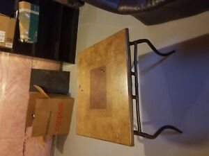 Dark purple couch set and three tables