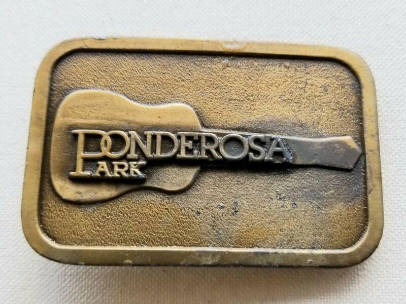 Vtg Ponderosa Park Belt Buckle Guitar Rare Souvenir Country Music Ohio 1965-2010